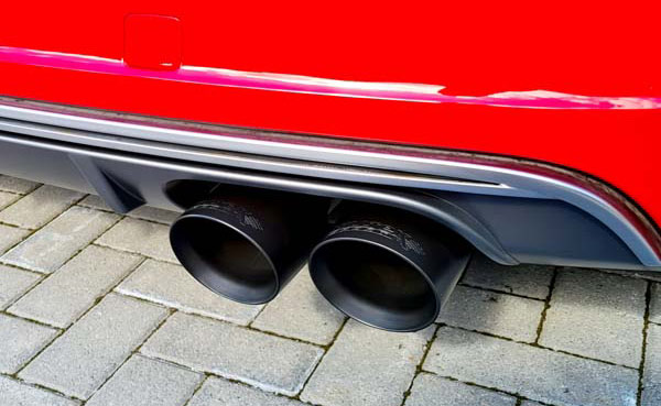 Under car view of a high performance exhaust kit fitted to a car